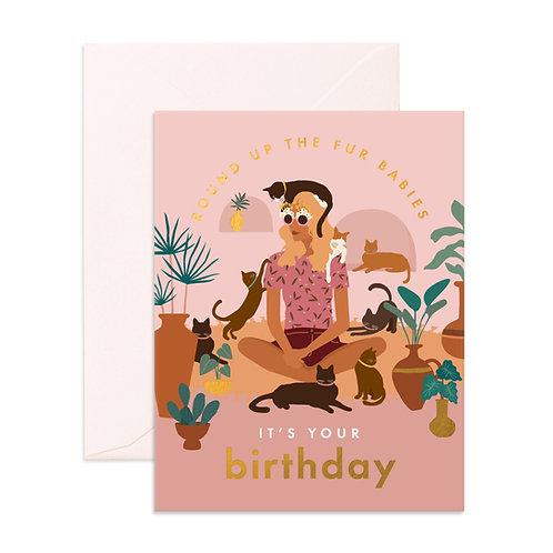 Birthday Cat Lady Greeting Card