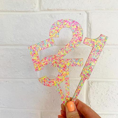 Confetti Number Topper - Neon Sorbet