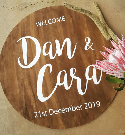 Dan & Cara - Stained wood and hand painted roudn wedding sign