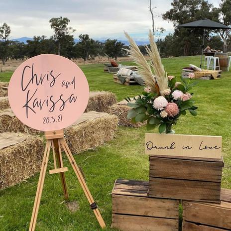 Karissa & Chris - Blush pink acrylic and vinyl wedding sign.