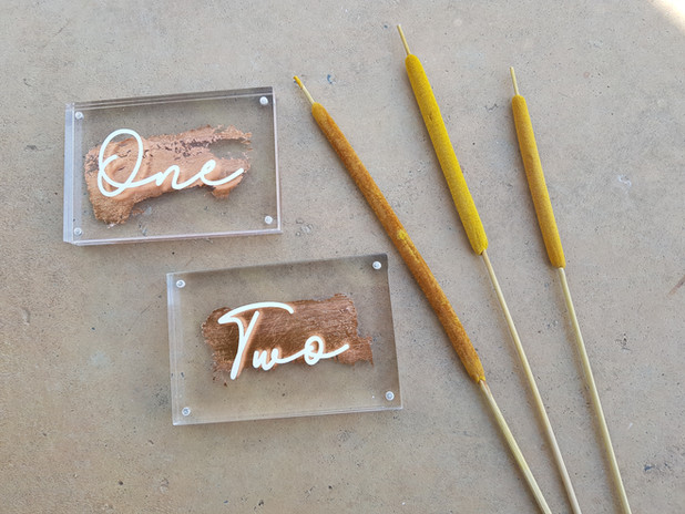 Acrylic copper foil table numbers