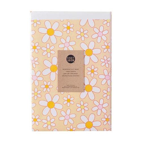 Daisy Newsprint Giftwrap