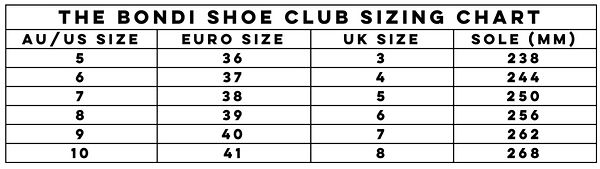 The Bondi Shoe Club international sizing chart for their shoes