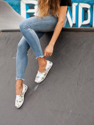 Model posing at Bondi Skate Park
