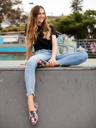 Model sitting in Bondi Skate Park