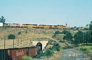 Santa Fe lead units cross abovetheir train on the Tehachapi Loop.