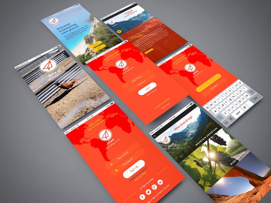 Roam App Screen Showcase