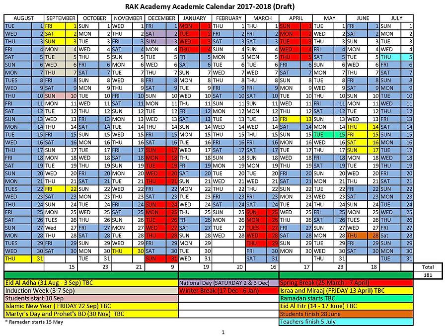 Rak Academy  Bc Academic Calendar