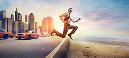 Businessman jumping from a busy city to