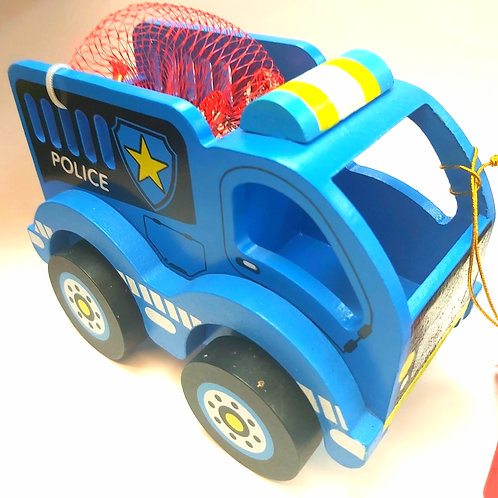 Wooden police truck (with chocolates)
