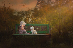 Outdoor_photo_of_girl_on_bench_oil_paint
