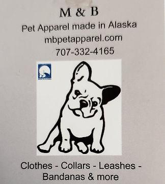 M&B Pet Apparel  Made in Alaska logo Anc