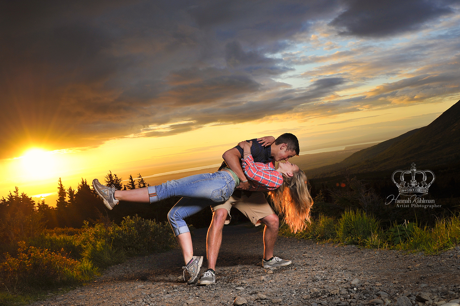 Romantic_engagement_photo_outdoors_sunset_dip_Anchorage_Alaska_Eagle_River_Alaska_portrait_photograp
