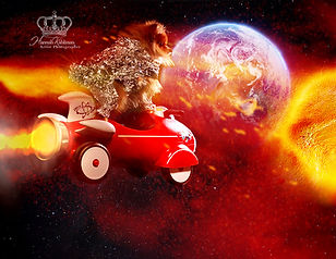 Creative fantasy photo of dog in space a