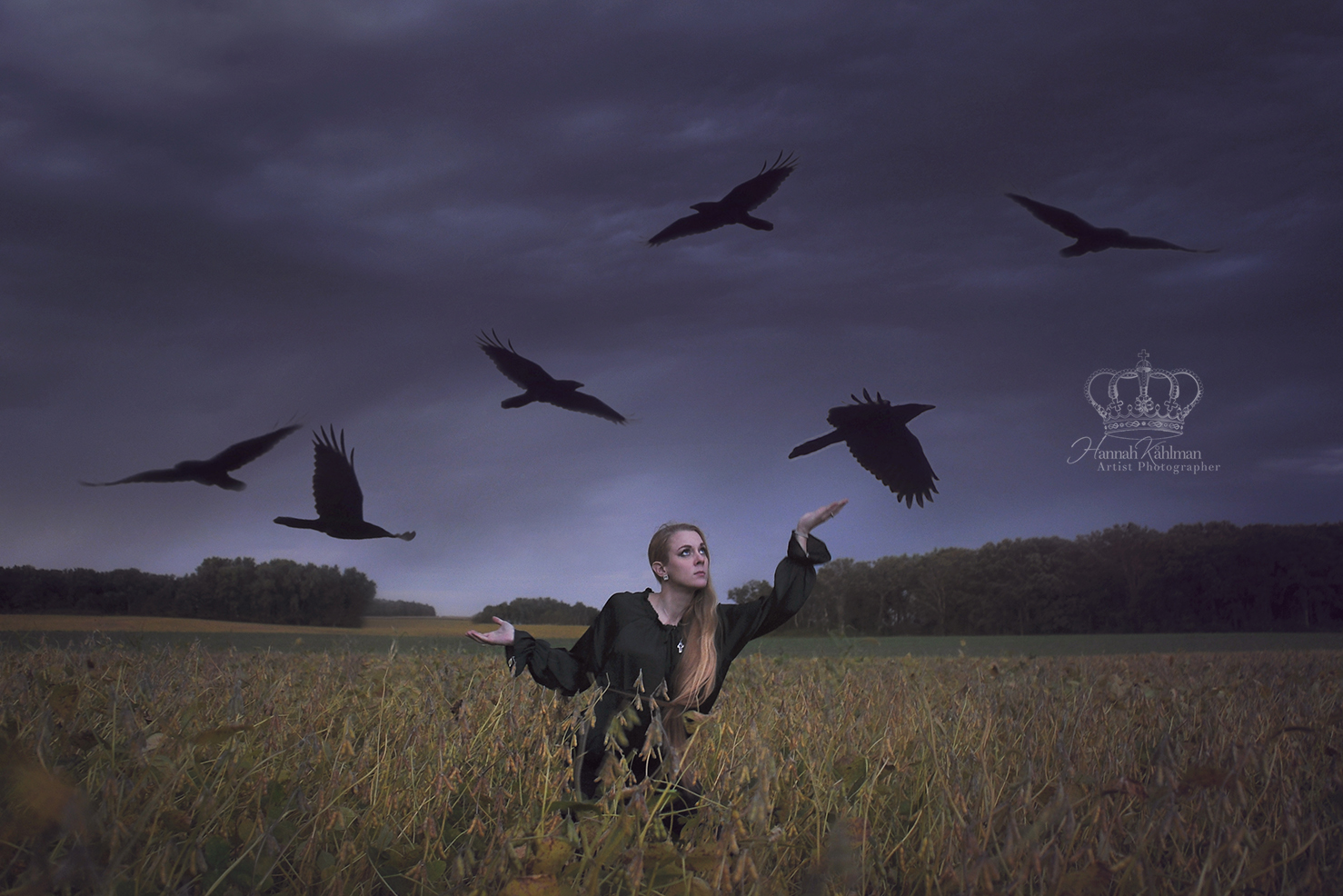 Fine_Art_self_portrait_with_birds_ravens_in_Minnesota_field_by_Anchorage_Alaska_conceptual_photograp