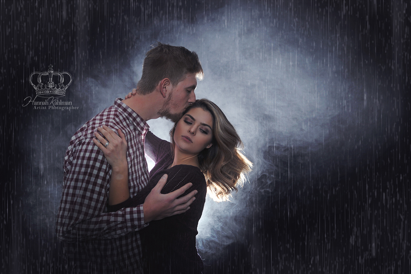 Romantic_couple_photo_in_outdoor_rain_and_smoke_in_photo_studio_Anchorage_Alaska_engagement_photogra