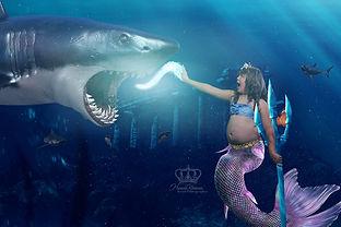 Girl as mermaid fights shark in Atlantis