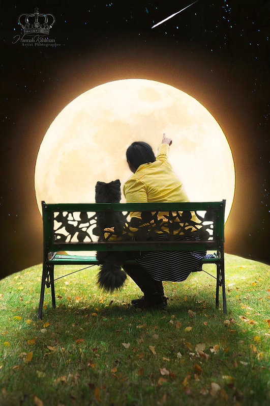 Fantasy_photo_moon_of_woman_and_dog_outd