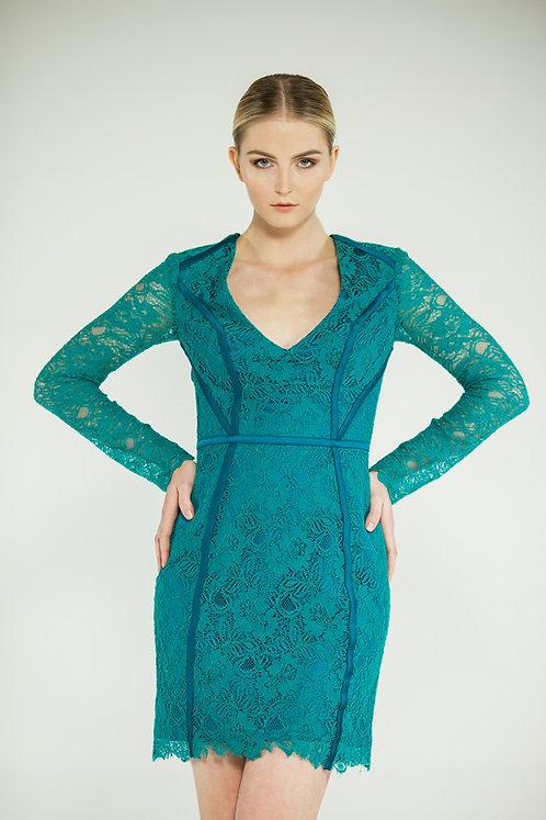 Tyrkysovo smaragdovo zelené čipkové šaty