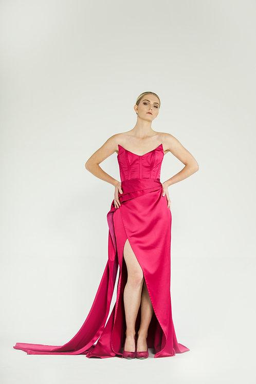 Raspberry red evening dress
