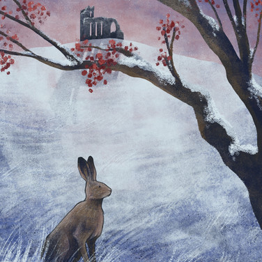 A hare and ruins in the snow
