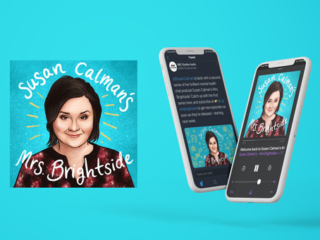 Susan Calman's Mrs. Brightside - a podcast cover design.
