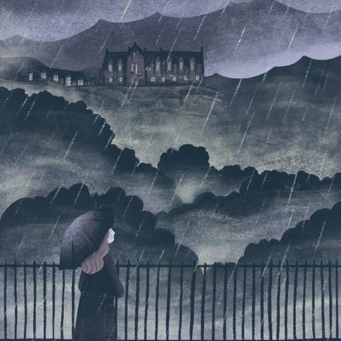 Edinburgh castle in the rain
