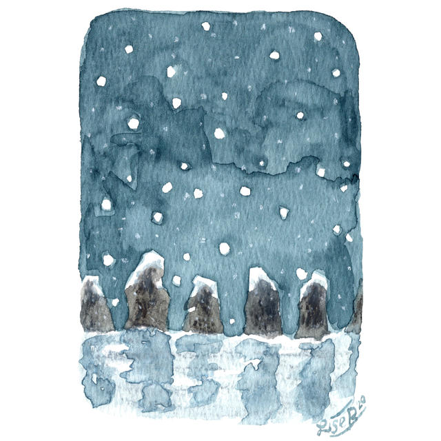 Snowy Standing Stones (card)