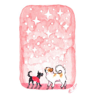 Sparkly Winter Dogs (card)
