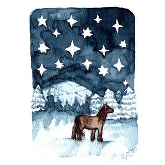 Snowfield horse (card)