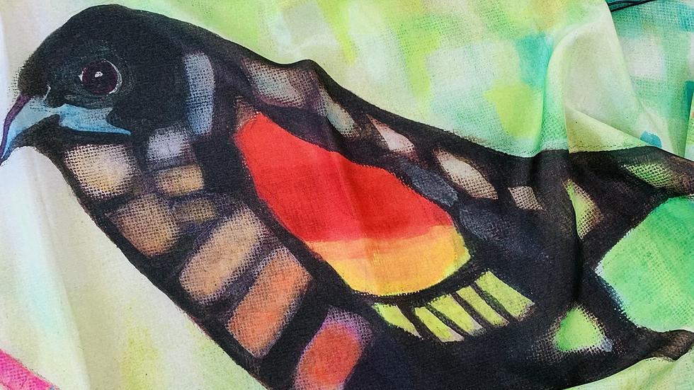 "Silk Scarf ""Red-Winged Backbird"