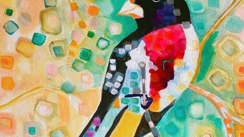 "Silk Scarf ""Red Breasted Grosbeak"""