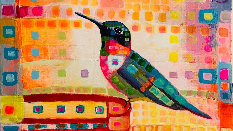 """Silk Scarf """"Hummingbird"""""""