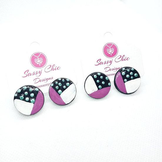 polymer clay polka dot print earrings