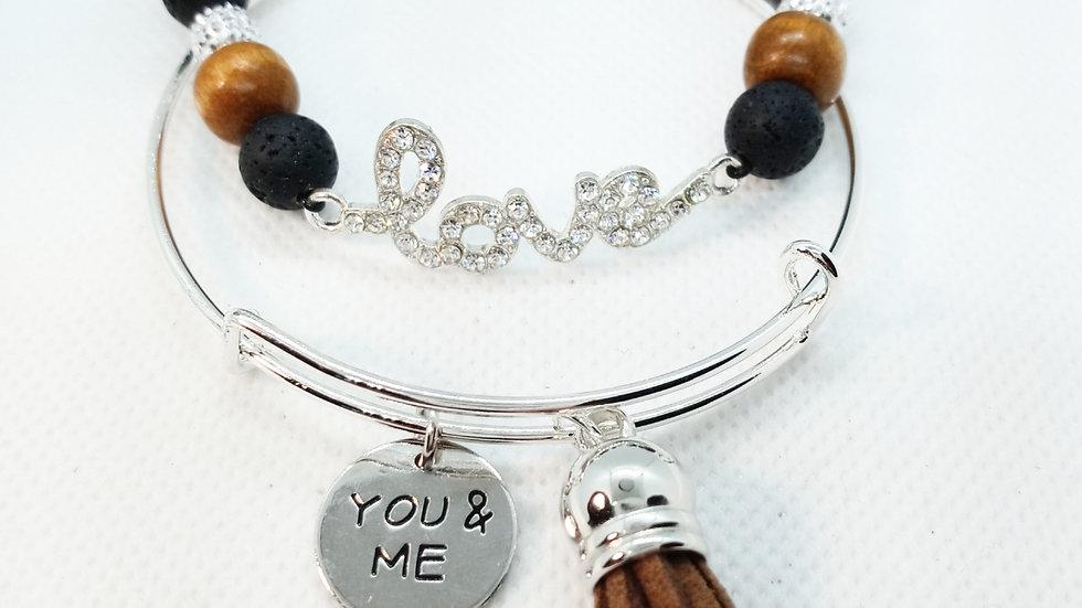 """Love"" Lava stone bracelet set"