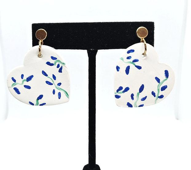 Heart floral earrings