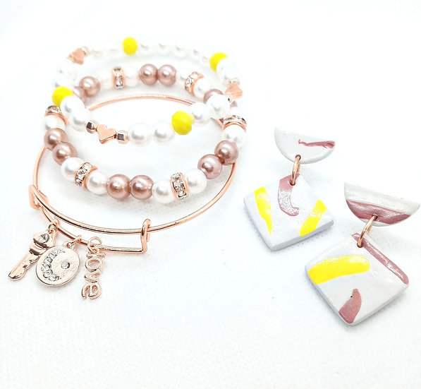 Rose gold pearl Bangle stack set