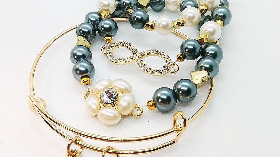 """Infinity"" pearl bangle stack!"