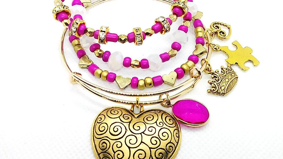 4pc Golden Heart Bangle and Bracelet stack
