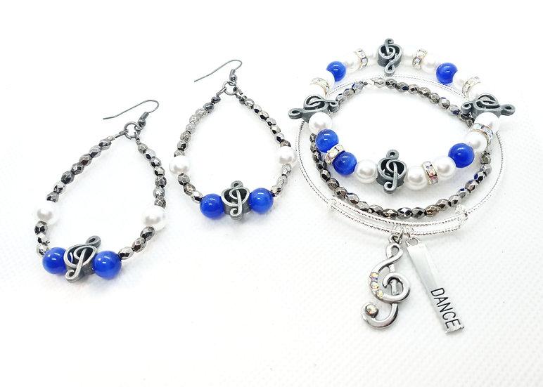 Dancing blues bracelet and earring set