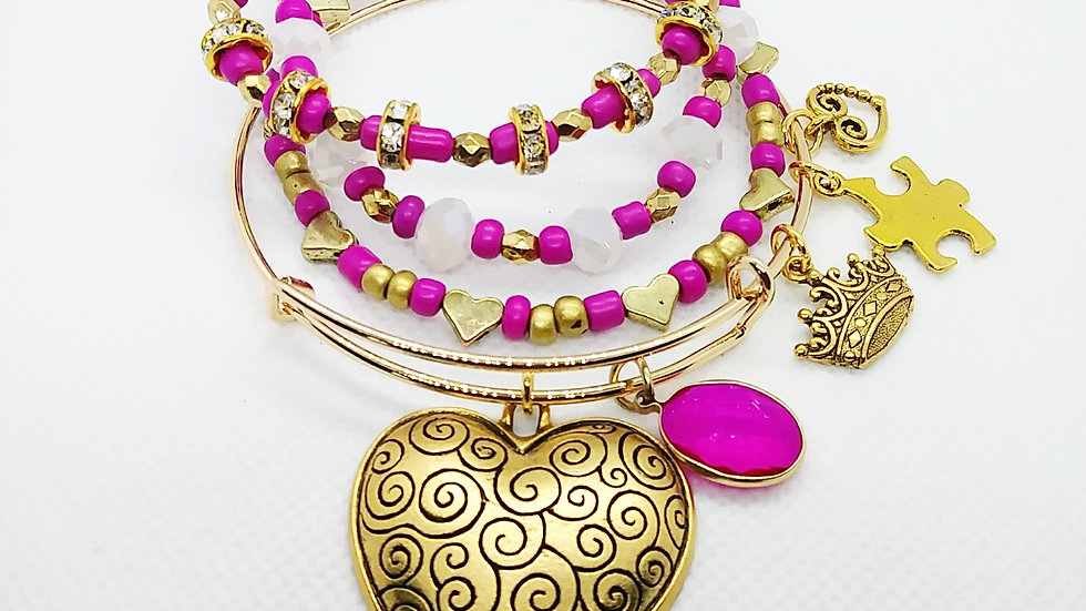 4pc Golden Heart Bangle and Bracelet stack