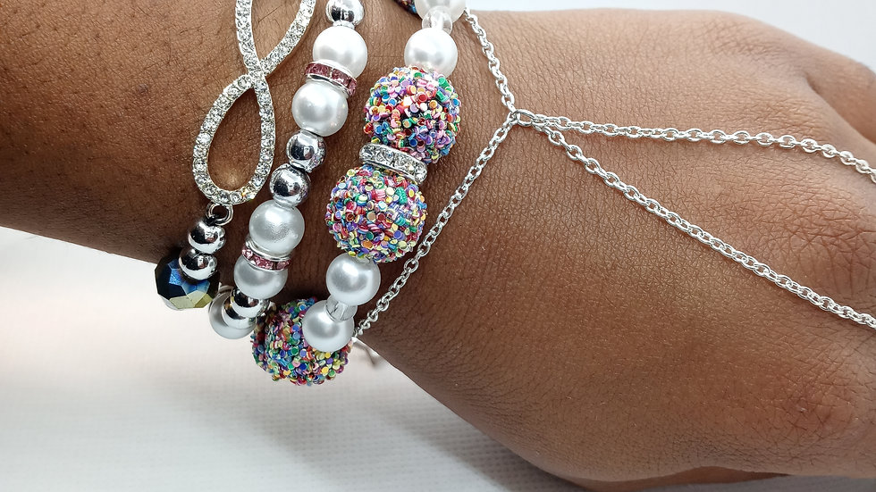 """""""Candy Land"""" stack and hand chain set"""