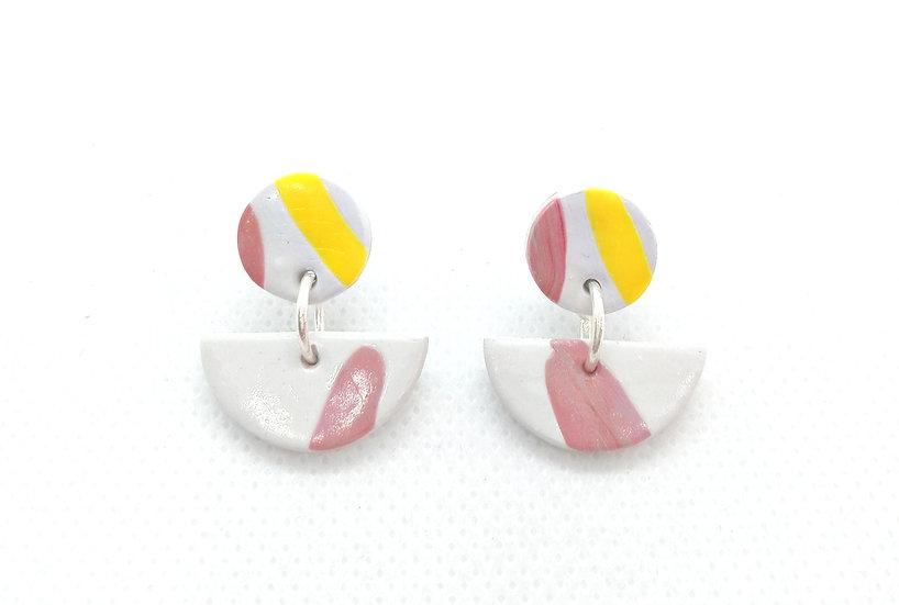 Half moon polymer clay earrings