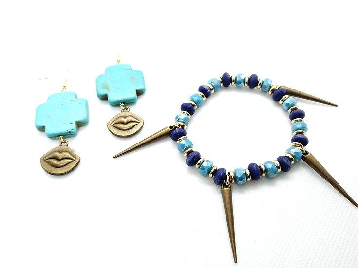 """""""Wakanda"""" inspired bracelet and earring set"""