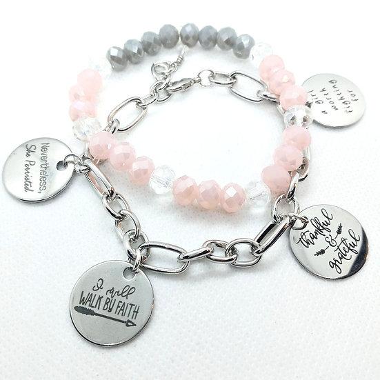 (I AM)  Thankful Silver charm bracelet