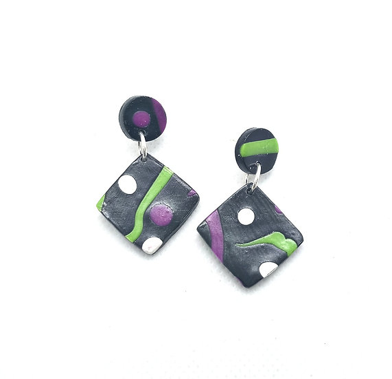 Retro vibes polymer clay earrings