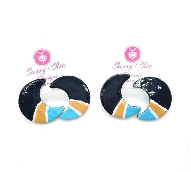 moon shaped polymer clay earrings