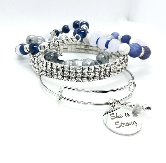 """""""She is strong"""" Natural stone Bangle stack"""