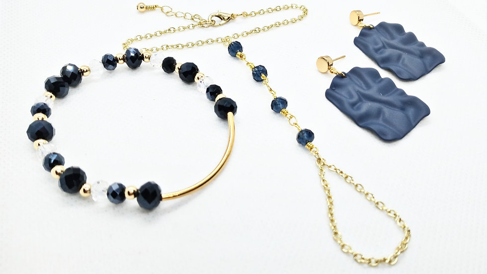 Navy & gold Hand chain set