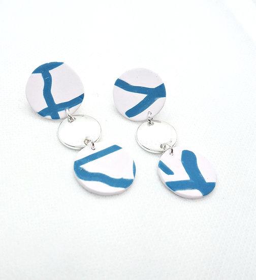 Funky blue & white dangle earrings